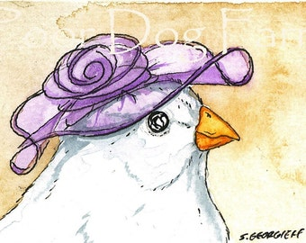 ACEO signed Print - White finch in a hat N0 1