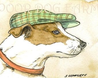 ACEO signed PRINT- Jack Russell in a hat