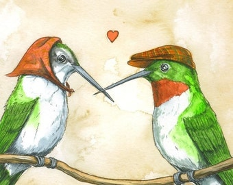 Hummingbird Lovers   print 8x10