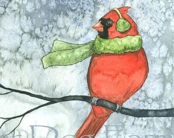Cold Cardinal Winter  -  8 x 10 print