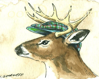 Deer in a Hat  5x7 print