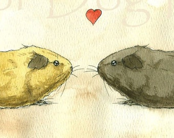 More Guinea Pig Love  -Original Watercolor painted print