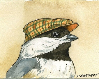 Little Chickadee with hat - 8x 10 print