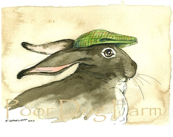 March Hare in a Hat -  5 x 7 print