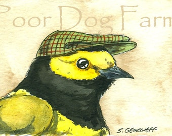ACEO signed PRINT - Hooded Warbler in a hat -
