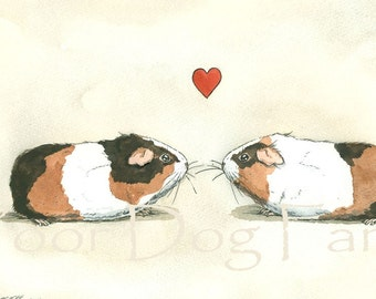 Guinea Pig Love  -Original Watercolor painted print
