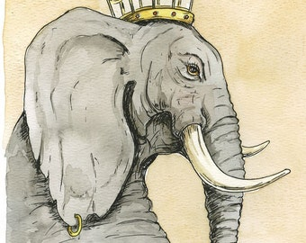 Elephant Queen (an original 8x10 hand painted Queen)
