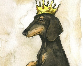 Dachshund King (an original hand painted king)