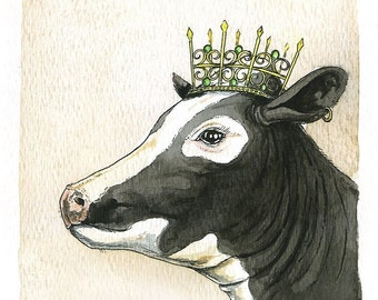 Cow Queen 8x10 hand painted print