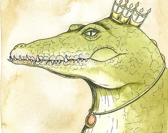 Nile Crocodile  Queen 8x10 hand painted print
