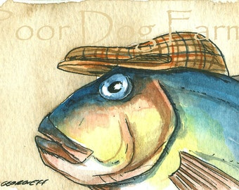 Show your pride-------- Rainbow Tilefish  in a hat- ACEO signed PRINT