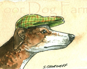 ACEO signed PRINT - Greyhound  with a hat
