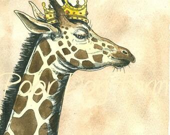 Giraffe King 8x10 hand painted print