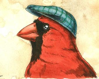 a Dapper  Cardinal in a Hat  - 8 x 10print