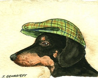 ACEO signed PRINT  -Another Weiner Dog with hat-