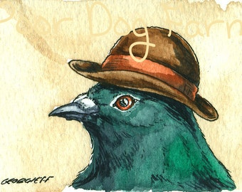 ACEO signed PRINT - A  Dapper Pigeon in  a Hat -