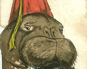ACEO signed PRINT - Walrus in a Fez