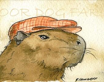 A Jaunty Capybara with hat- 5x7 print