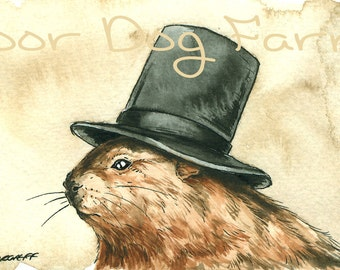A Jaunty Woodchuck  with Hat - signed ACEO print