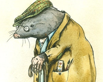 OLD MR MOLE  print 8x10