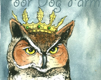 OWL KING 8x10 hand painted print