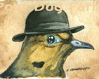 ACEO signed Print - Horace in a Hat-
