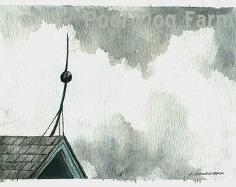 Painting no. 2  Over the Roof-- Original Watercolor Painting