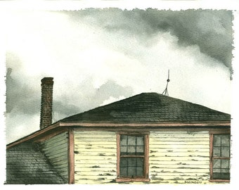 Painting n0. 17   The Train Station -- Original Watercolor Painting
