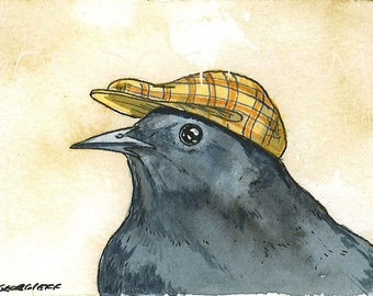 ACEO signed PRINT -Gray Catbird with hat