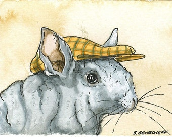 ACEO signed PRINT - Chinchilla in a hat