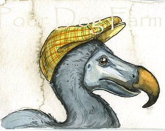 ACEO signed print -Dodo Bird  with hat -