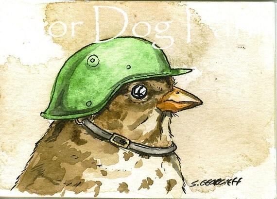 ACEO signed PRINT - Birds in helmets  n0. 1