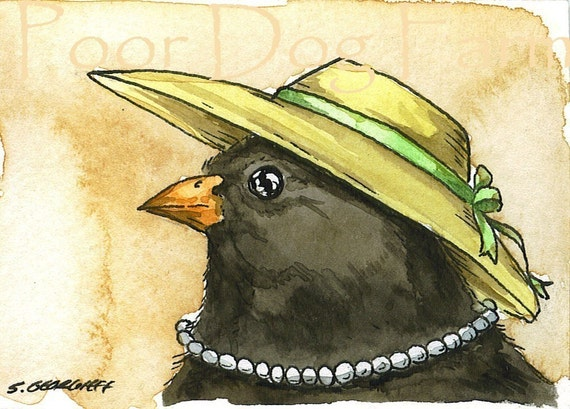 ACEO signed PRINT - Lady Junco in a hat