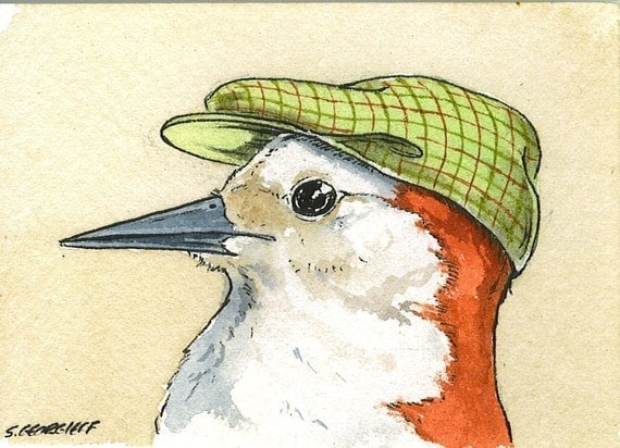Birds in Hats Set no.2  (Special  set of 4 ACEO Prints) (...and 1 bonus your choice aceo print)
