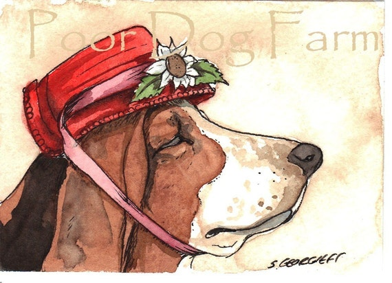 ACEO signed Print - Daisy Mae Basset -
