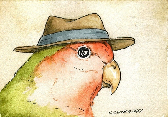 ACEO signed Print- Love Bird with hat   -