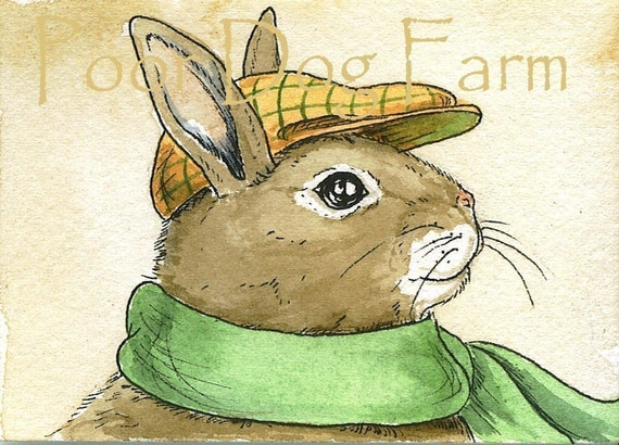 ACEO signed PRINT - Rabbit with hat and scarf