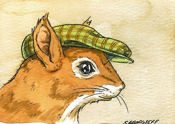 ACEO signed PRINT -Red Squirrel with hat-