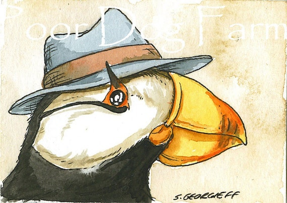 ACEO signed PRINT - Horned Puffin in a hat