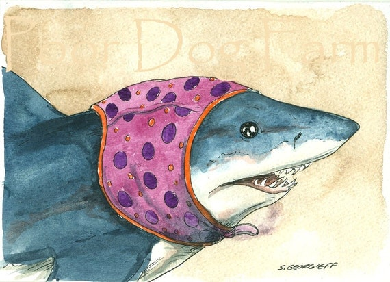 Great White in a Swim cap - 5x7 print