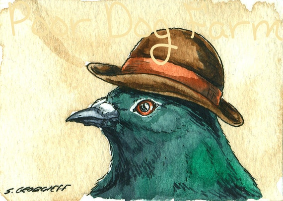 A  Dapper Pigeon in  a Hat - Original ACEO Painting