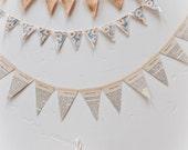 Custom Vintage Textile Banner Trio in Tangerine or Teal