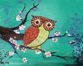 Owl Cherry Blossom Green Print