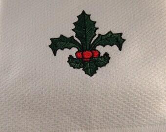 Christmas Holly Leaf Fleur de Lis Waffle Weave Kitchen Towel
