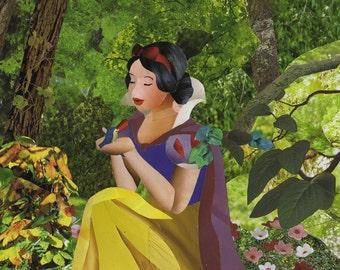 Snow White art collage 8x10 print