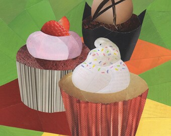 Cupcakes 8x8 collage art print