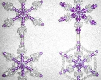 Beaded Snowflake Ornaments, 4pc Set - Amethyst Purple
