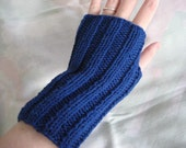 Deep Blue Sea - Hand Knit Fingerless Gloves - Upcycled Cotton Yarn - Medium - Size Fits Most