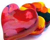 Kid's VALENTINES Crayons - Recycled Heart Crayons - Set of 3 Jumbo Recycled Rainbow Crayons