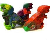 Recycled Rainbow Crayons - Jumbo T Rex Rainbow Crayons (Set of 3 Recycled Crayons)